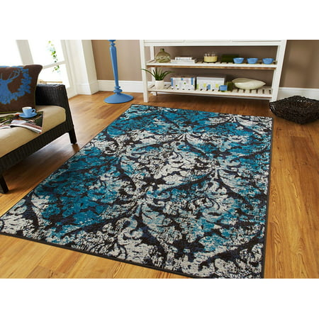 Luxury Modern Area Rugs On Clearance 5x8 Distressed 5x7 Rug For Dining Room Blue Black Gray Floor 5 By 7 Under 50 Living