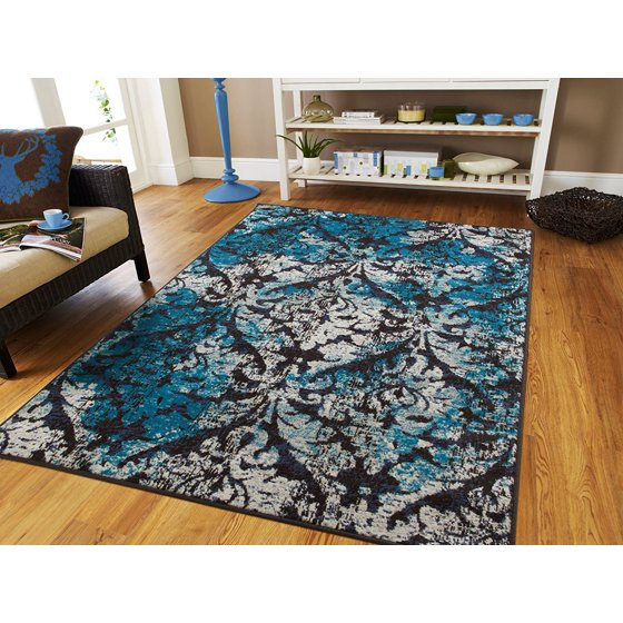 Luxury Century Rugs Black Blue Distressed Rugs 8x10