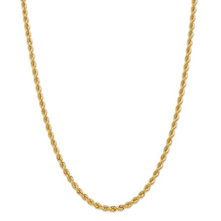 - Solid 14k Yellow Gold Big Heavy 4mm Handmade Regular Rope Chain Necklace 16