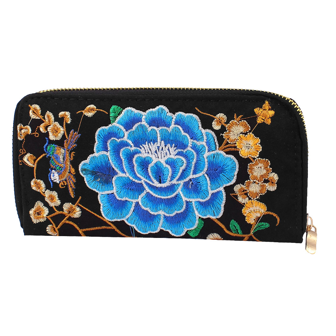 Women Embroidered Floral Purse Phone Coin Zipped Wallet Handbag Clutch