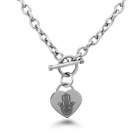 Stainless Steel Evil Eye Hamsa Hand of Fatima Heart Charm Bracelet, Necklace, or
