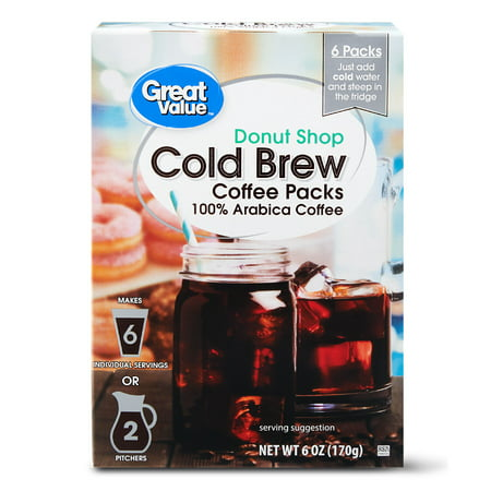 Great Value Cold Brew Coffee Packs, Donut Shop, 6 oz, 6