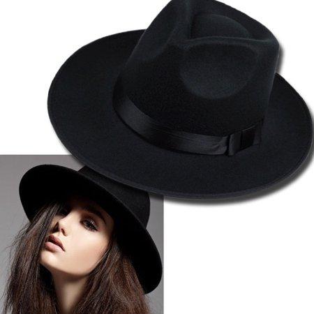 Vintage Wide Brim Wool Felt Floppy Fedora Jazz Hat Bowler Trilby Cap for Men Women Christmas Gift - image 2 of 7