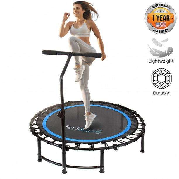 SereneLife SLELT418 - Pro Aerobics Fitness Trampoline - Portable Gym Sports Trampoline with Adjustable Handrail - Walmart.com - Walmart.com