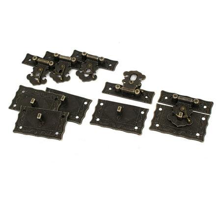 Unique Bargains Rectangle Antique Style Case Chest Box Clasp Hasp Latch Bronze Tone 5 Sets