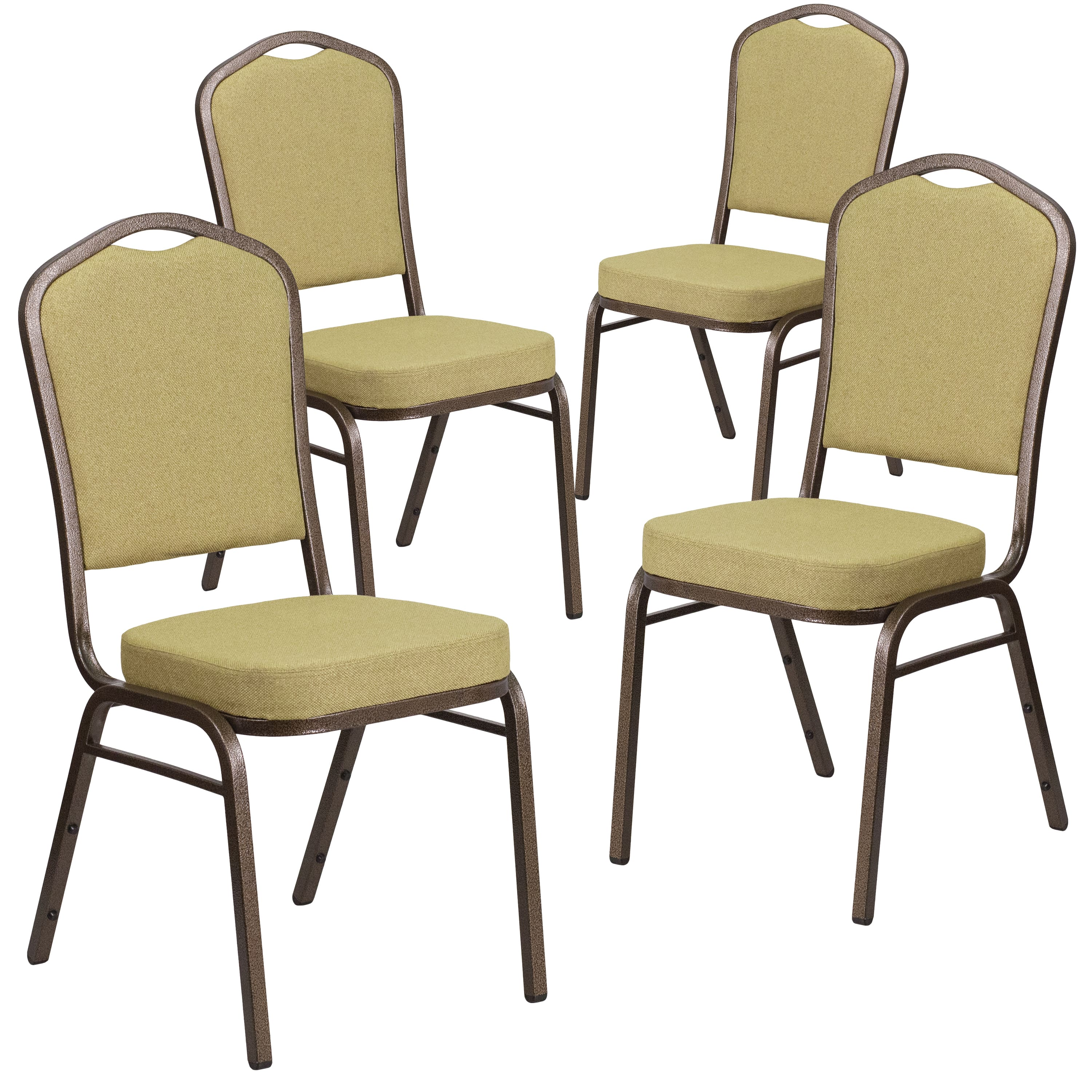 Flash Furniture 4 Pk. Hercules Series Crown Back Stacking Banquet Chair with Brown Fabric & 2.5'' Thick Seat - Cop