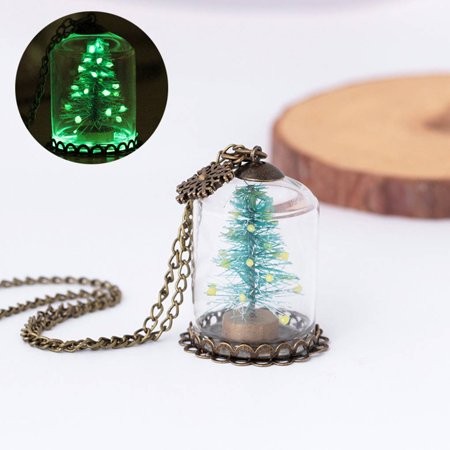 Holiday Clearance Women Glass Cup Christmas Tree Luminous Necklace Glow In The Dark Snowflake Pendant Necklace Jewelry Gift