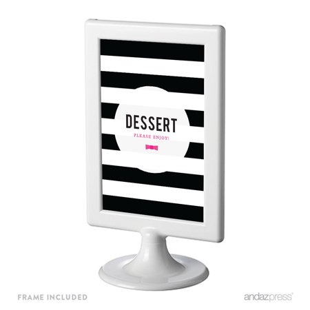 Dessert Table Modern Black and White Stripes Wedding Framed Party Signs