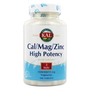 KAL Cal/Mag/Zinc | 1000 mg of Calcium, 400 mg of Magnesium & 15 mg of Zinc | Healthy Bones, Muscle, Heart & Immune Function Support | 100 Tablets