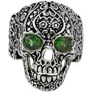 Hellfire Jewelry Sterling Silver Dia De Muertos Floral Skull Ring
