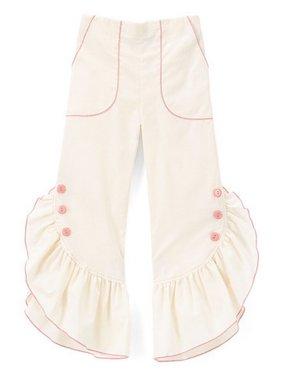 Little Girls Ivory Pink Ruffled Trim Button Detail Cotton Pants