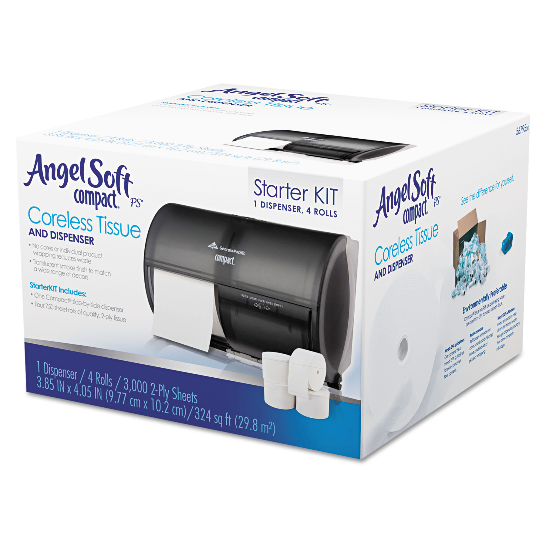 Angel Soft Compact Careless Tissue and Dispenser Start Kit, 5 pc