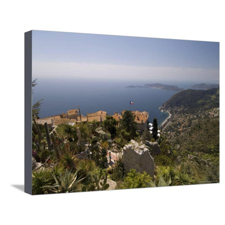 Eze Village and Cap Ferrat, Alpes Maritimes, Provence, Cote d'Azur, French Riviera, France Stretched Canvas Print Wall Art By Sergio