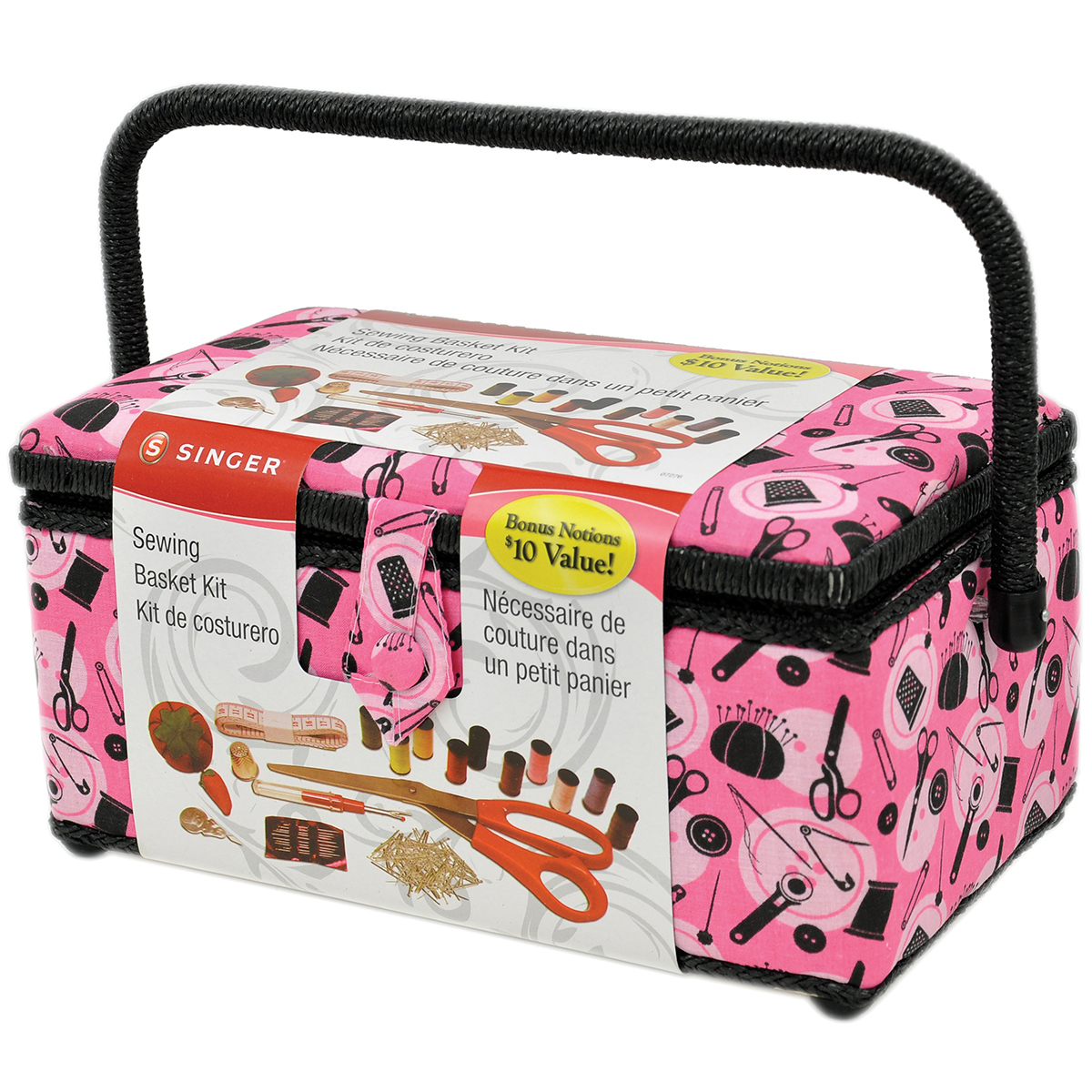 Singer Large Pink & Black Sewing Basket Kit with Notions, 126 Pieces