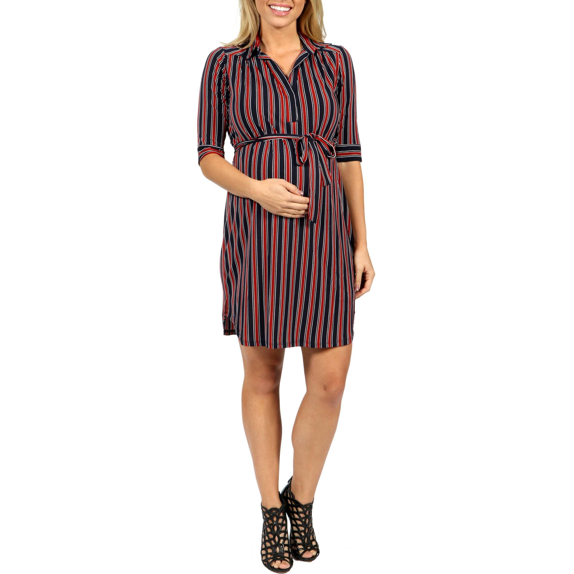 24/7 Comfort Apparel Paris Stripe Maternity Dress