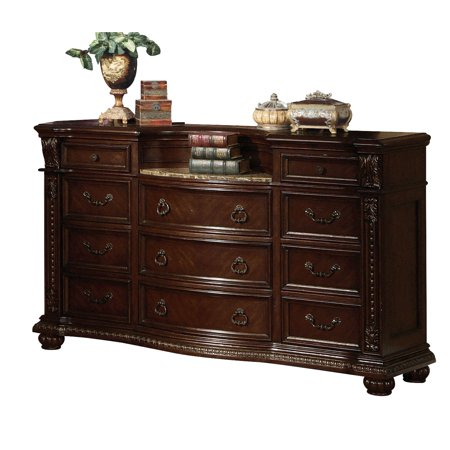 Wooden Dresser with Marble Top , Cherry Brown ()