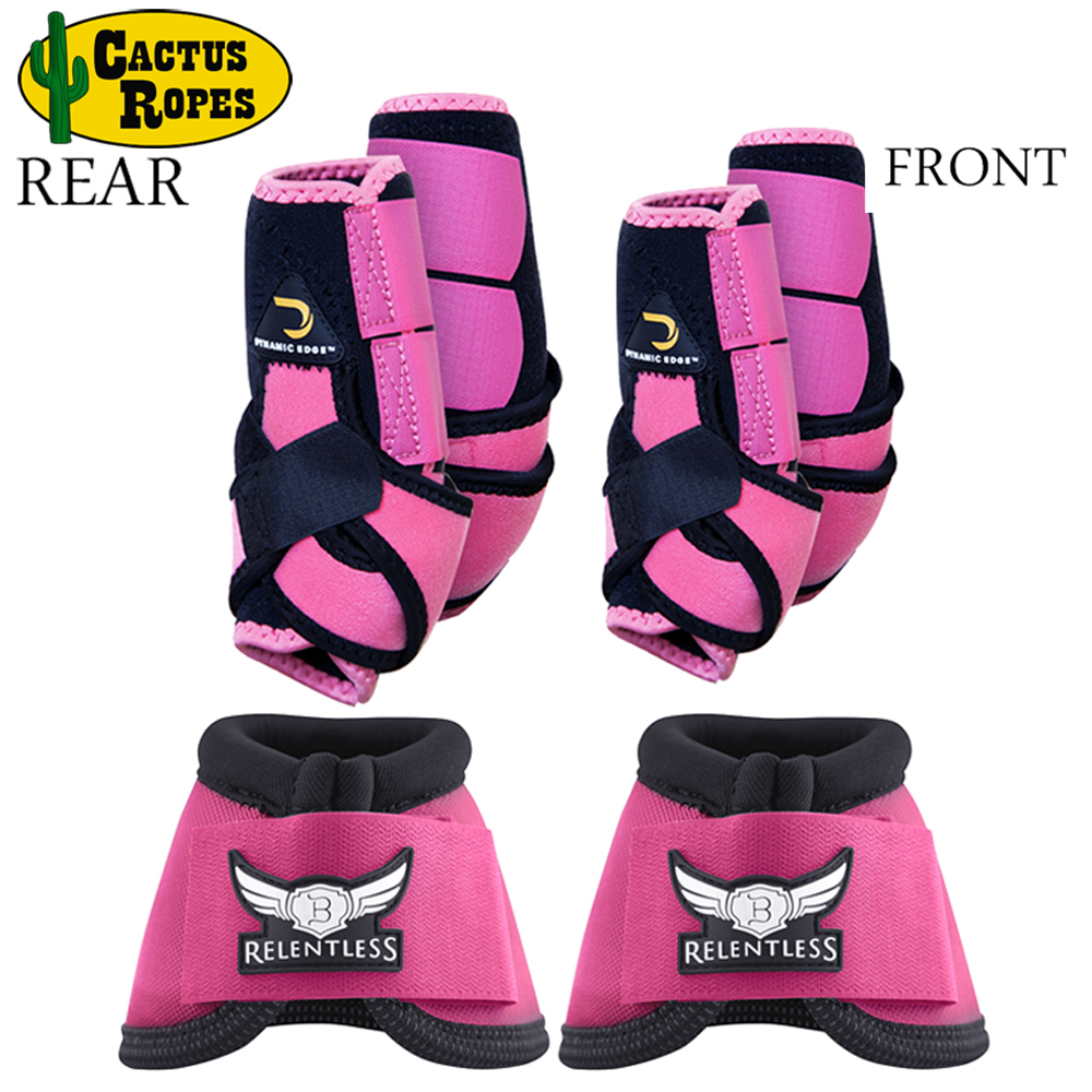 LRG DYNAMIC EDGE 2 TONE HORSE FRONT REAR LEG SPORTS BELL BOOTS 6 PACK PINK BLACK by CACTUS ROPES