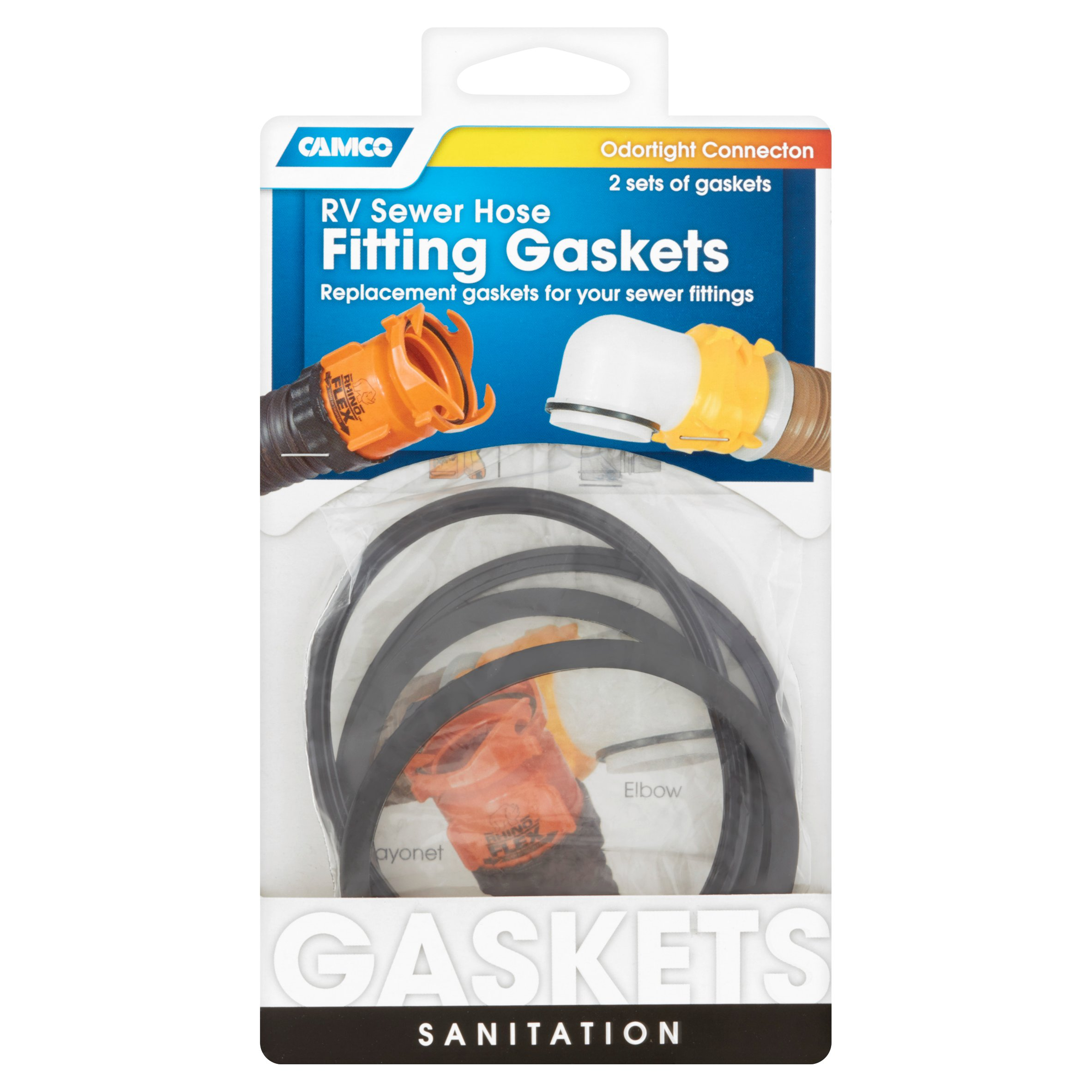 Camco RV Sewer Hose Fitting Sanitation Gaskets, 2 count