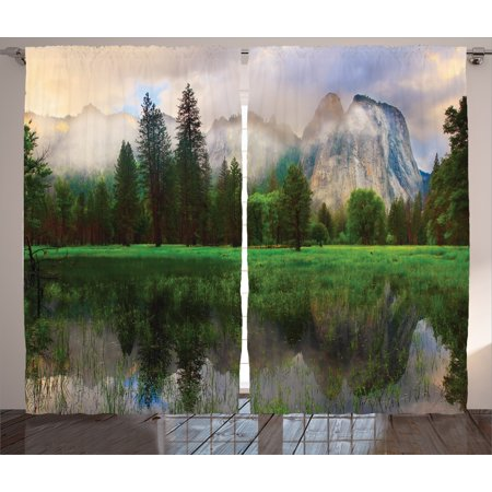 - Nature  Curtains 2 Panels Set, Sunset Panorama of Yosemite Cathedral Rocks Trees Cloudy Sky Reflection Riverside, Living Room Bedroom Decor, Beige Green, by Ambesonne