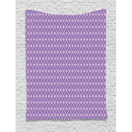 Geometric Tapestry, Rhombus Composition Triangles and Diamond Shapes in Purple Shades, Wall Hanging for Bedroom Living Room Dorm Decor, 40W X 60L Inches, Lavender Lilac and White, by (Shapes And Shades)