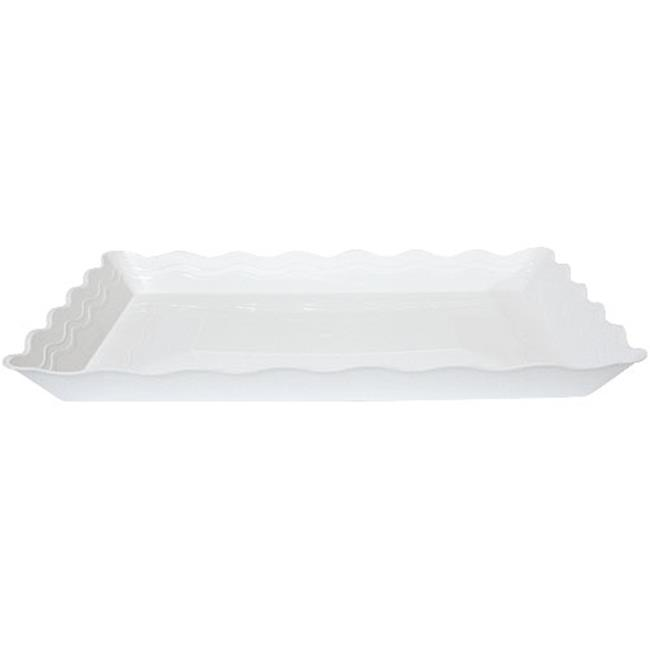 Party Dimensions 60897 9 inchx 13 inch White Wave Tray - 25 Per Case