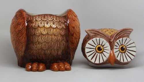 8 Inch Big Eyed Owl Shaped Ceramic Cookie Jar Statue Figurine by PTC