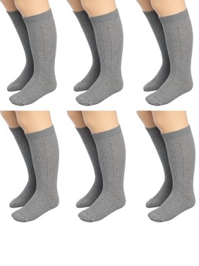 Mod & Tone (6 Pairs) Little Girls Knee High Socks For Kids Cotton Blend Long Socks For Toddler Girls Uniform