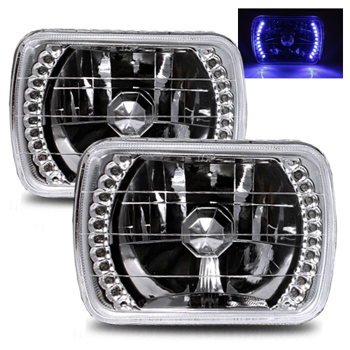 1995-1997 Nissan Pickup 7X6 H6014/H6052/H6054 Chrome Crystal Square Headlights - Blue LED Ring