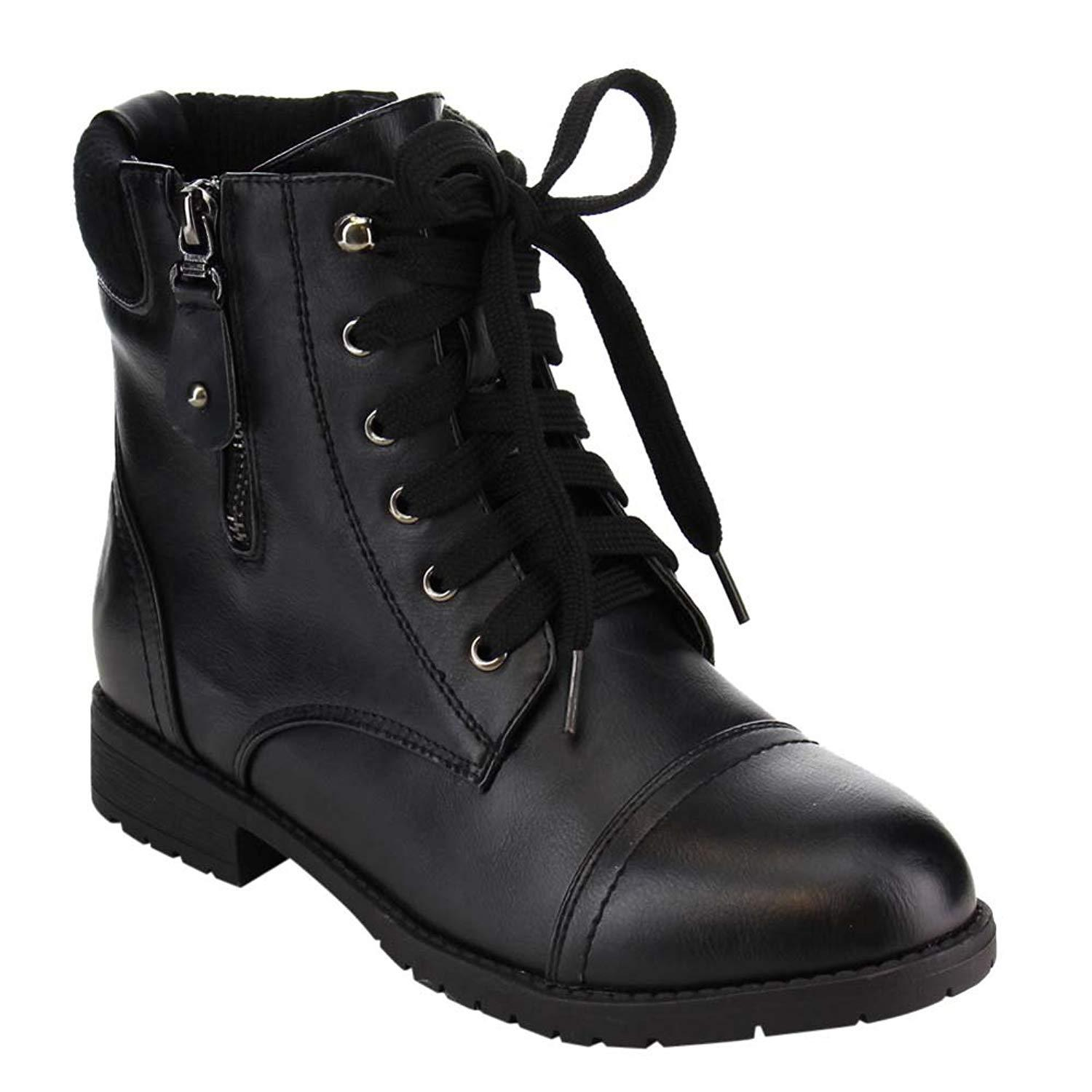 Lace up Military Style Combat Ankle Bootie Women's Boots Vegan Leather - 9 / Black