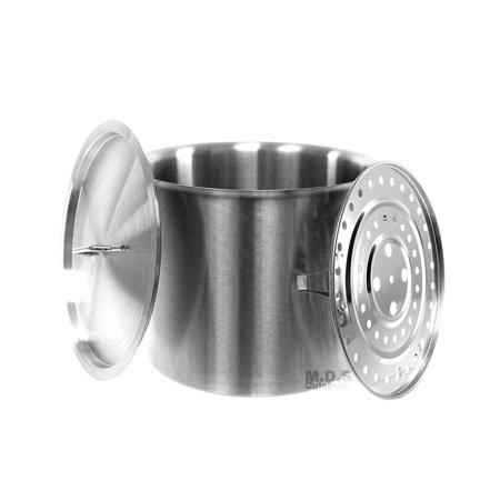 Stock-Pot 20 Qt Stainless Steel Commercial Heavy Duty Steamer Pot Kitchen Restaurant Olla Steam Rack Pot with Lid (20 Qt StockPot with Steam Rack) ()