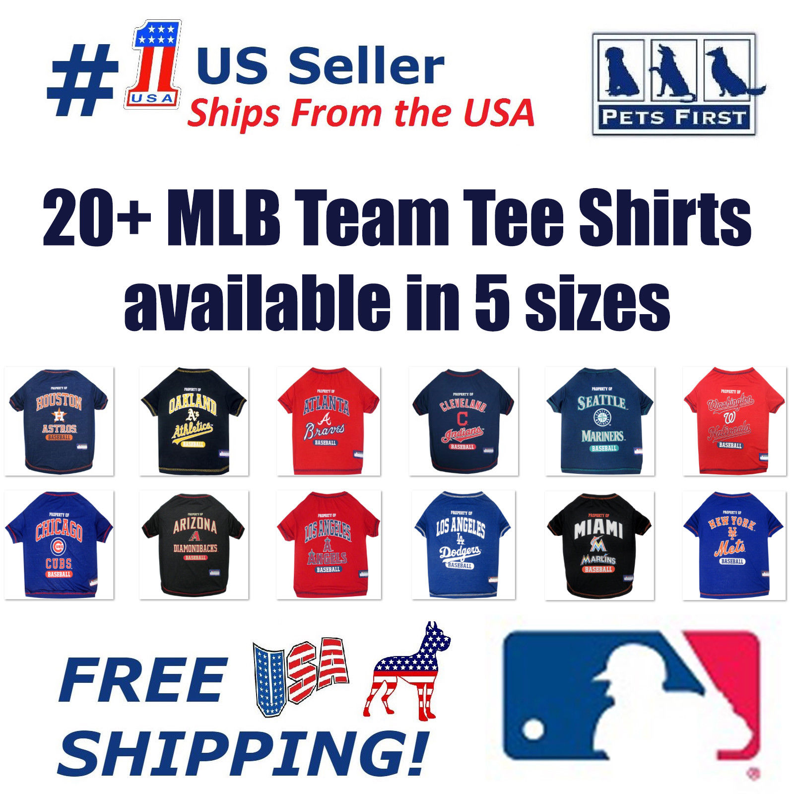 Pets First MLB Seattle Mariners Tee Shirt for Pet Cats & Dogs
