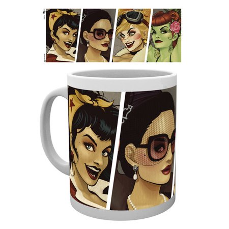 DC Comics Bombshells - Ceramic DC Comics Coffee Mug / Cup (Wonder Woman, Catwoman, Harley Quinn & Poison Ivy - Retro) (Wonder Woman And Poison Ivy)