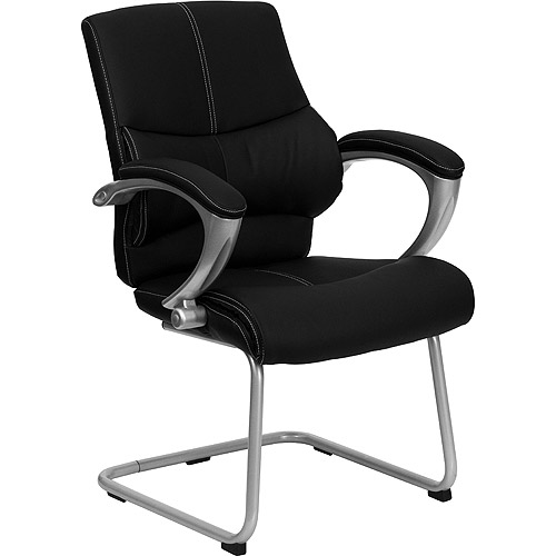 Leather Executive Office Guest and Reception Chair, Black