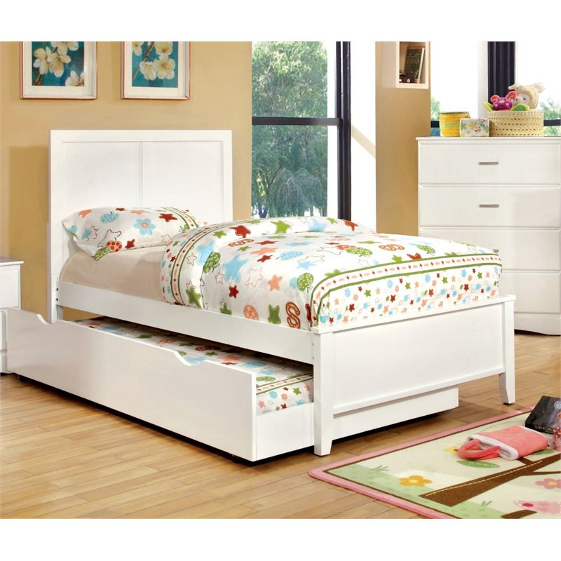 Furniture of America Geller Twin Platform Panel Bed in Coconut White