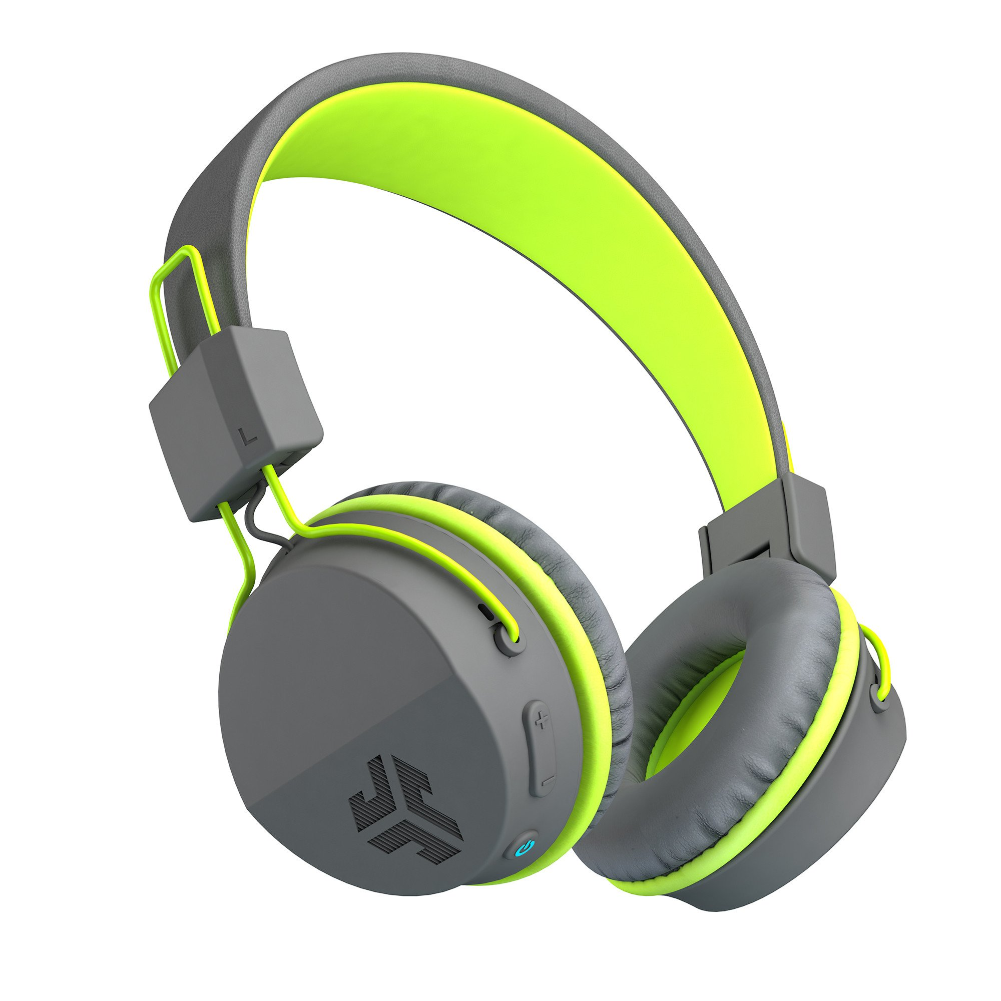 JLab Audio Neon Bluetooth On Ear Headphones, Folding with Universal Mic - Gray/Green