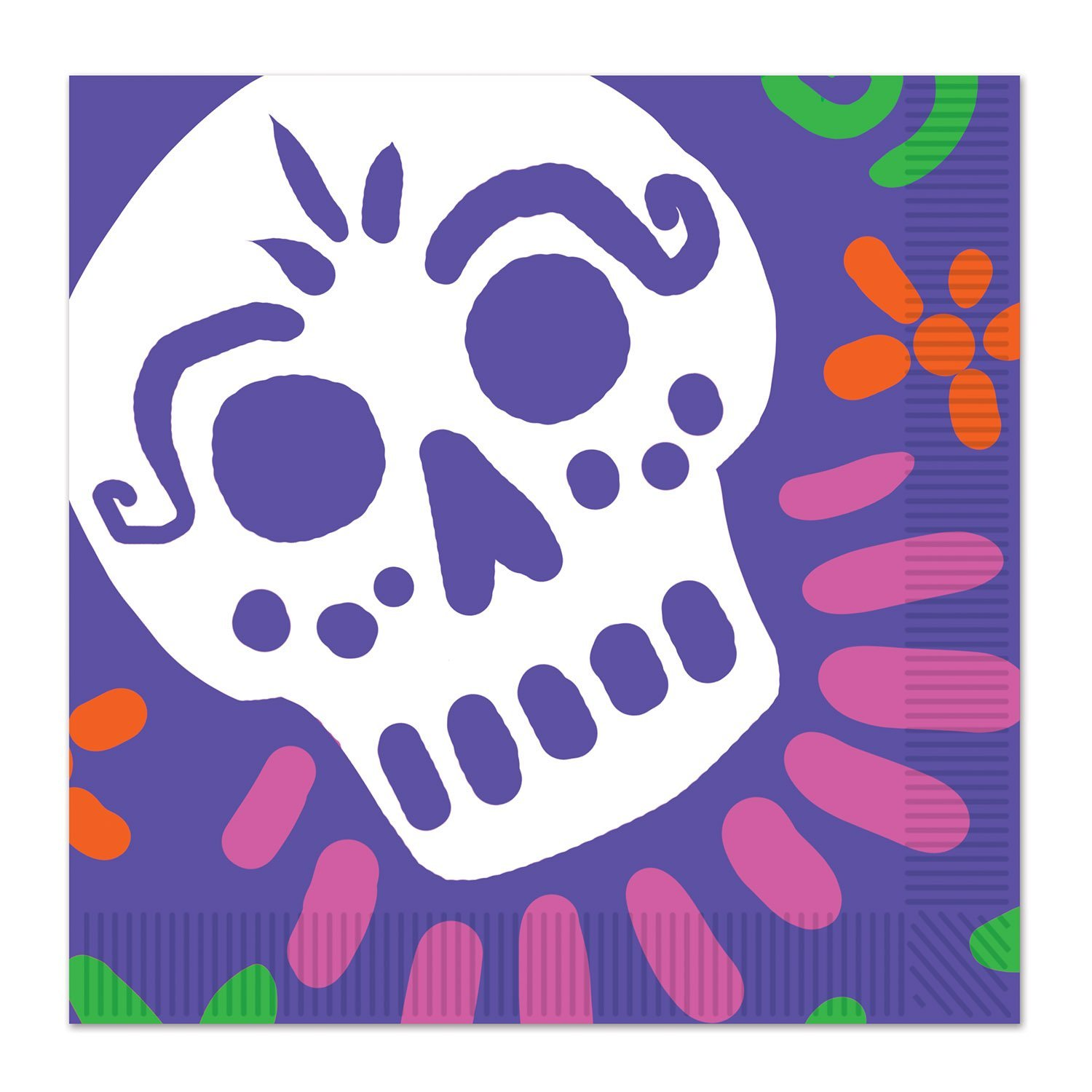 """Lilac Purple Day Of The Dead 2-Ply Skull Party Luncheon Napkins 12.88"""" by 12.88"""" (pack of 16), Day of the Dead Party Theme By Beistle"""