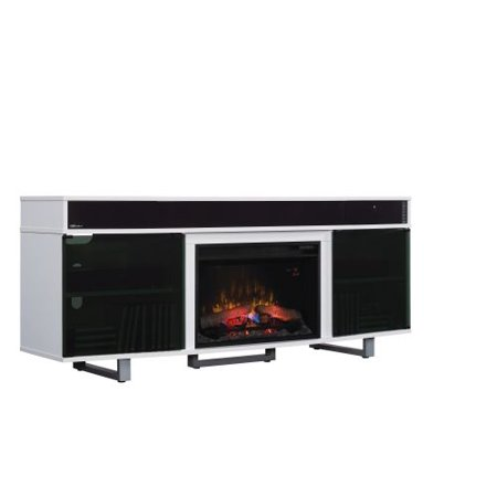 TV Stand w/Speakers and 25″ Curved Elec Fireplace, Gloss White