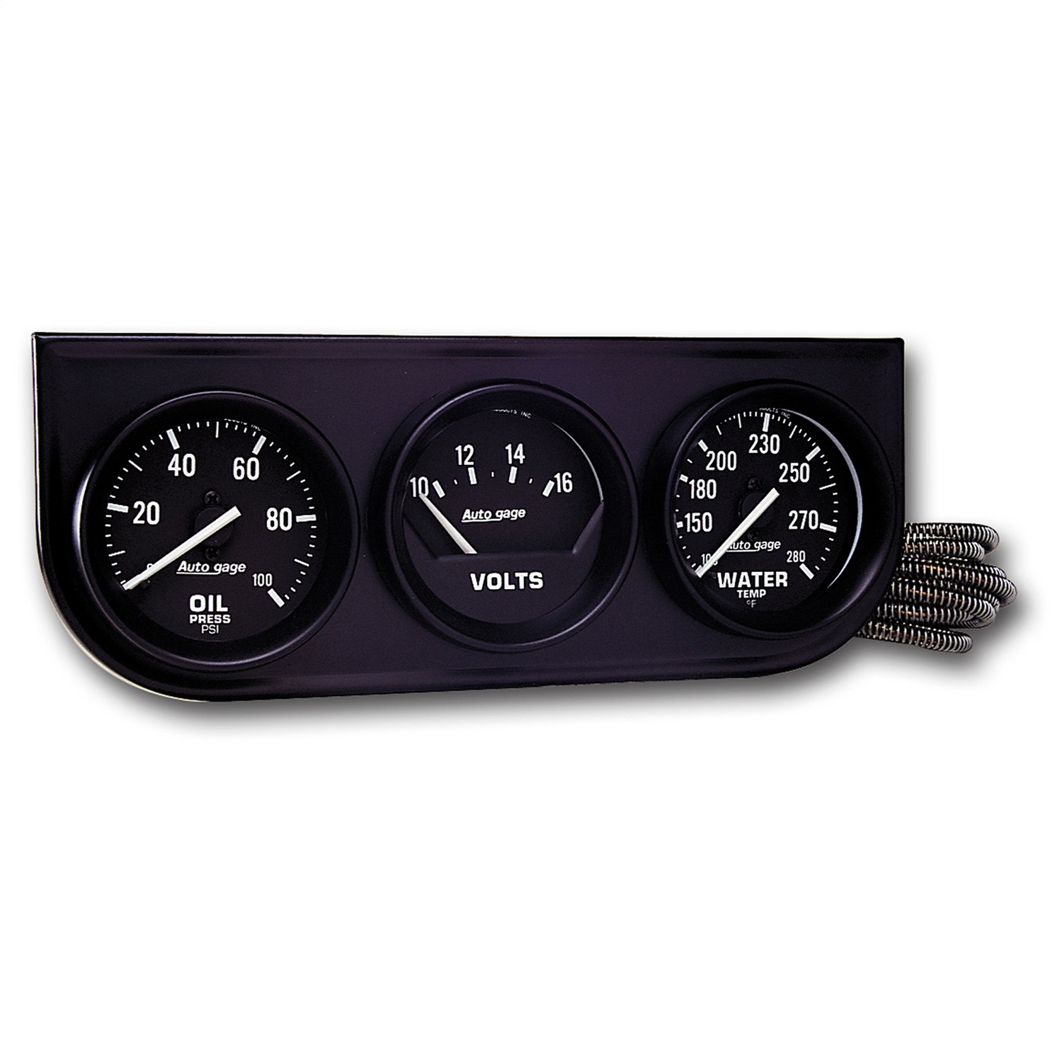 AUTO METER 2397 2IN 3 GAUGE CONSOLE, OIL/ WATER/VOLT, MECH, BLACK