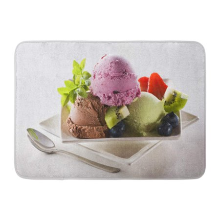 GODPOK Spoon Icecream Fresh Mixed Ice Cream Close Up Shoot Fruit Dessert Rug Doormat Bath Mat 23.6x15.7 inch
