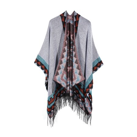 Womens Knitted Cashmere Ponchos Shawl Cardigans Sweater Coat