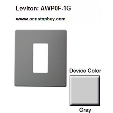 (Leviton AWP0F-1G Renoir II Wallplate 0 Narrow 1 Wide Dimmers - Gray)