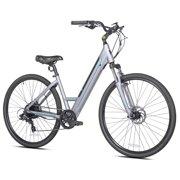 Kent Electric Pedal Assist Step-Through Bike, 700C Wheels, Gray E-Bike