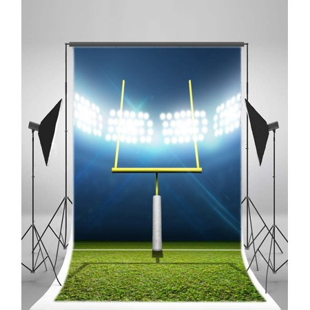 GreenDecor Polyester 5x7ft Football Stadium Night Backdrop Photography Background Football Stadium with Posts Green Grass Lighting Shiny Scene Match Sports Man (Football Stadium Backdrop)