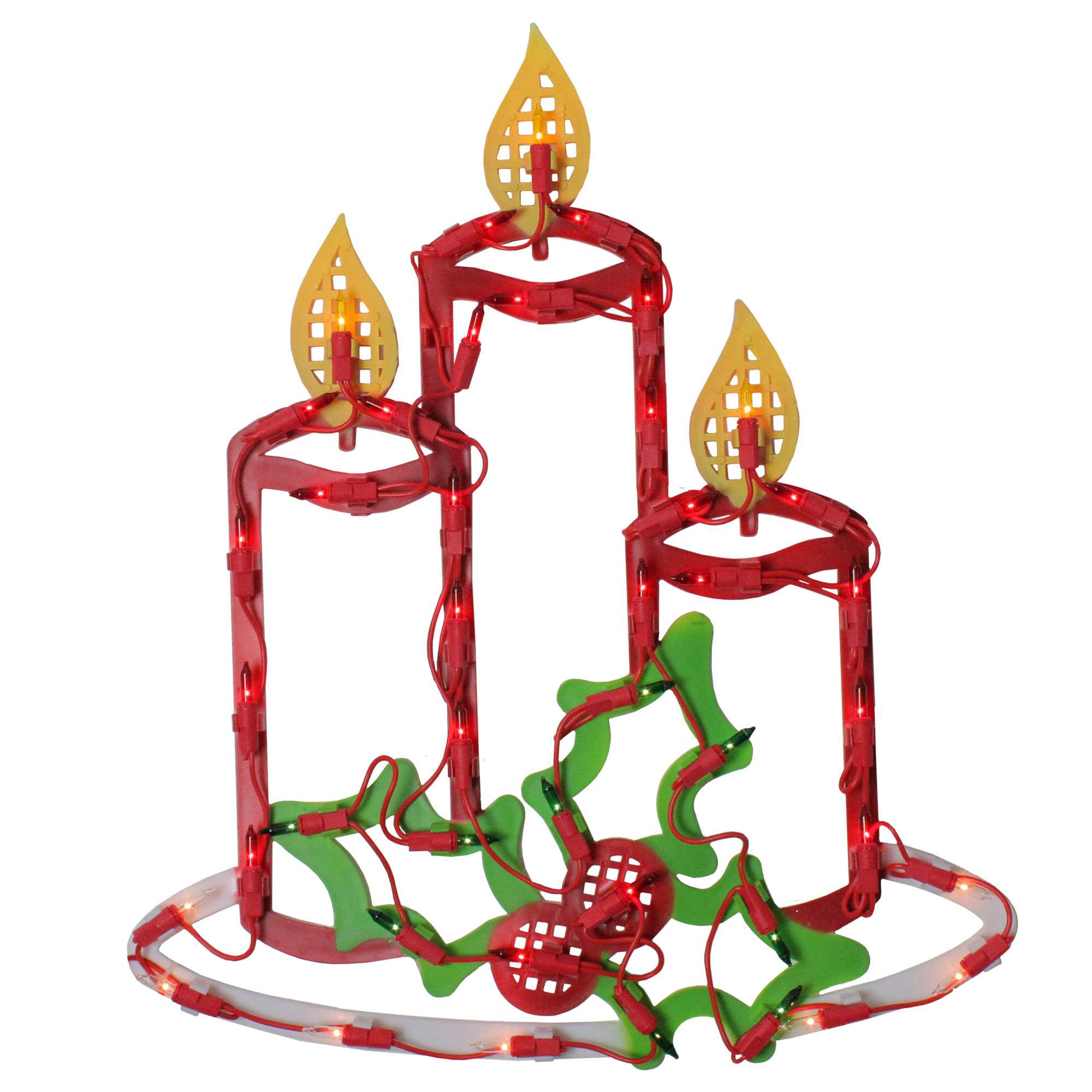 Lighted Candles with Holly and Berry Christmas Window ...