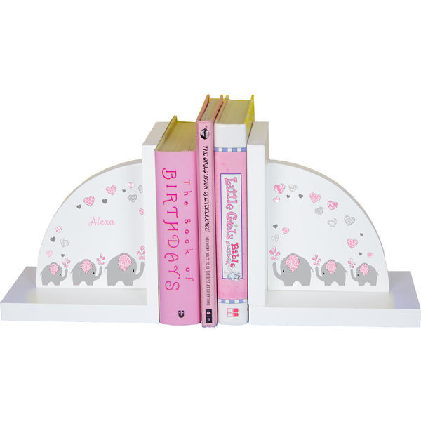 Personalized Pink Elephant Childrens Bookends