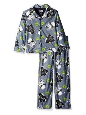 Star Wars Boys' Big Darth Vader 2-Piece Pajama Coat Set, Dark Force, Grey, Size: 4