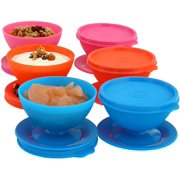 Dessert Cups Bowls with Lids for Parfait, Desserts, Pudding, Appetizers, Salads and More - Reusable, Durable, BPA Free Plastic Container, Dishwasher Safe - Set of 6