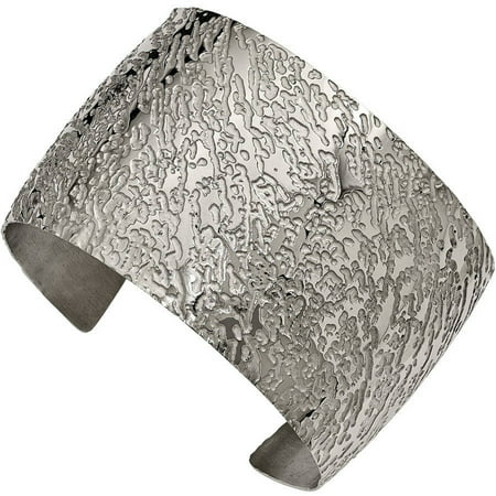 Textured Cuff Bangle - Stainless Steel Polished Textured 4.50mm Cuff Bangle