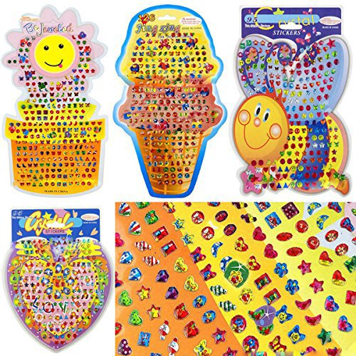 Pro1rise® Girls Boys 4 Cards Over 375 Pairs Stick On Jewel Earrings, Decorate Cards/Sticker Jewels/Party Favor/Reward Stickers