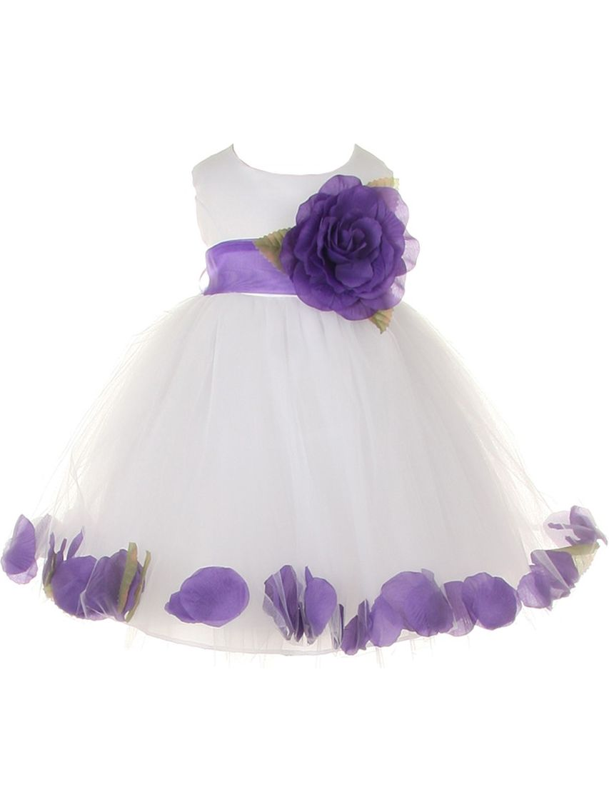 Baby Girls White Purple Petal Adorned Satin Tulle Flower Girl Dress 6-24M